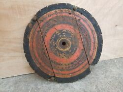 Old Original Rare Primitive Handmade Lacquered Wooden Roof Round Centre Part