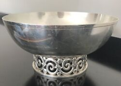 And Co Sterling Silver Modernist Footed Open-work Bowl Centerpiece