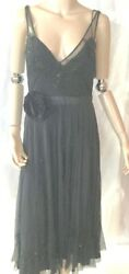 Tracy Reese Black beaded flowy layers  jewel rose lace dress silk 8 NWT