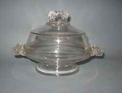 Antique Clear Glass Footed Covered Butter Cheese Serving Dish W/handles