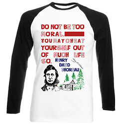 HENRY THOREAU MORAL QUOTE - NEW COTTON BLACK SLEEVED TSHIRT