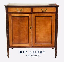 Early 20th C Antique Sheraton Style Tiger Maple Jelly Cupboard / Cabinet Danersk