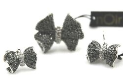 Noir Sparkling Silver Tone Black Cubic Zirconia Bow Size 10 Ring And Earring Set