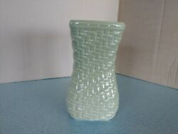 Longaberger Pottery Woven Reflections Small Vase In Sage Green New