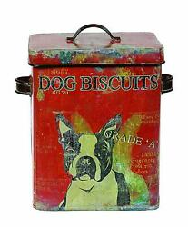 Creative Co-Op De0791 Vintage Tin Dog Biscuit Container With Boston Terrier