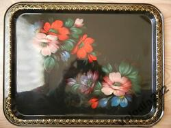 Vintage 1980s Ussr Zhostovo Russian Red Blue Flower Metal Hand Painted Tray