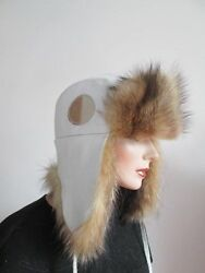 Women's Brand New Sz 23 Aviator Trapper Hat With White Leather And Raccoon Fur