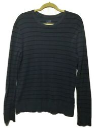 J. CREW Men's Size M Gray Black Striped Crew Neck Pull Over Casual Shirt Top $12.00