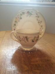 Wedgwood Mirabelle Bone China Leigh Shape Cup And Saucer R4537