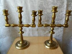 Vintage Candle Candlestick Holders Couple Bronze Brass Pair Two