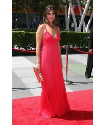 J Mendel Hot Pink Raspberry Mousseline Chiffon Ruched Bodice Gown 12 Dress 5250