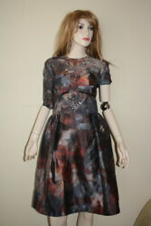 Mulberry Tie Dye Double Silk Lace Full Skirt Dress Us 8 Uk 12 Nwt 2600