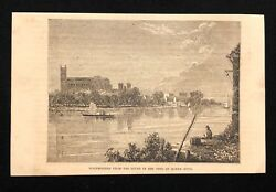 Antique 1873 Book Print/illustration Westminster From The River, Queen Anne Time