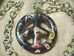 ASSORTED COLORS FLOWER GLASS PEACE SIGN 22quot; CHAIN HOBO PENDANT NECKLACE $12.99
