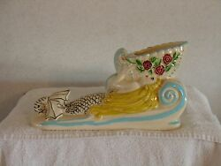 Very Very Rare Hull Pottery/ One Of One / Camellia Open Rose Mermaid Planter
