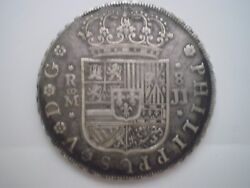 1729 Jj Spain Madrid 8 Reales Silver 8r Rare Coin