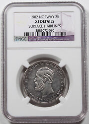 Norway 1902 2 Kroner Silver Coin Ngc Xf+ Extremely Fine Km 359 Scarce