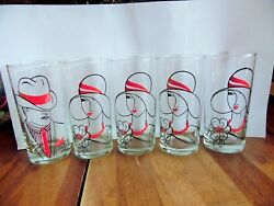 10 Vintage Glassware Tumblers 8 Lady W/hat And 2 Man W/hat 5.5h X 2 3/4r
