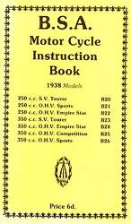 1938 B.s.a. Motor Cycle Instruction Book - Antique Reproduction