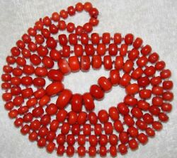 Huge Coral Blood Red Natural Antique Stone Necklace Old Asian beautiful  Chain