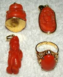 Old Real Antique Natural Red Coral Ring Pendants as Convolute 24 grams !!