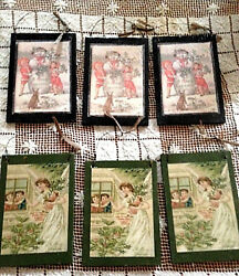 Set Of 6 Victorian Snowman And Angel Christmas Decoupage Wood And Wire Decorations