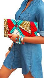 Red Turquoise white African Print Clutch Purse $24.99