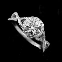 Split Intertwining Shank Halo Contemporary Modern Style Engagement Proposal Ring