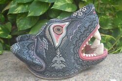 Pp612 Dynamite Beaded Huichol Mexican Coyote Head Glass And Metallic Beads.