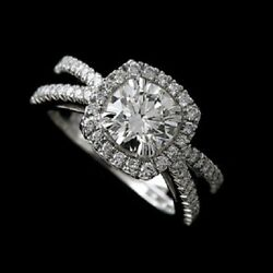 Forever One Moissanite Platinum Cut Down Pave Diamond Engagement Ring