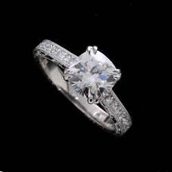 Cushion Moissanite French Cut Diamond Hand Engraved Engagement Ring