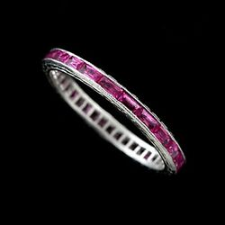 Platinum 950 Eternity Engraved French Cut Baguette Channel Set Ruby Band 2.1mm