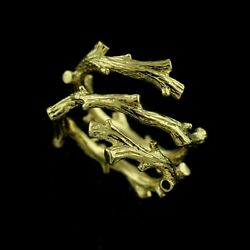 Gold Antique Look Tree Organic Artistic Fancy Three Row Hand Crafted Band 17mm