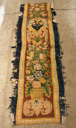 A Superb Wool And Silk Antique Tapestry Border With Flowers
