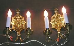Pair Of Ant./vintage, Double Arms, Solid Brass, Electric, Wall Sconces. 13 T