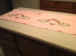 Awesome Vintage Embroidered And Lace Pink Pillowcases Pair Very Clean And Nice