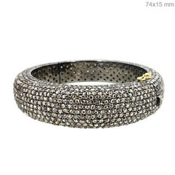 New 26.6ct Natural Diamond Pave Bangle 14k Gold 925 Sterling Silver Fine Jewelry