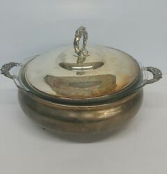 Vintage English Silver Mfg Corp Silverplate Made In Usa W/ Pyrex Insert