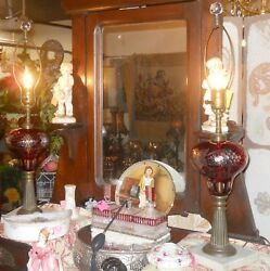 Gorgeous Antique Etched Cranberry Glass And Brass Table Lamps 26 Tall