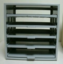 Midwest Fastener Hardware Storage Drawers 5 Tier Pull Out Shelves Gray