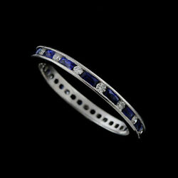 Classic French Cut Baguette Sapphires And Round Diamonds Eternity Band 2.2mm