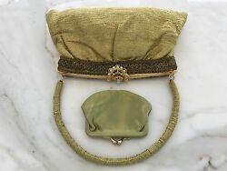 VINTAGE HAND MADE IN FRANCE GOLD GREEN TONE BEADED EMBELLISHED BAG COIN PURSE