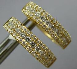 Estate .67ct Diamond 18kt Yellow Gold 3 Row Oval Classic Huggie Hanging Earrings