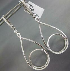 Large .75ct Diamond 18kt White Gold 3d Tear Drop Circle Of Life Hanging Earrings