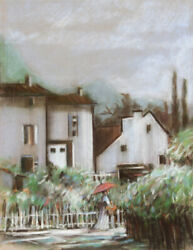 Japanese Village, Pastel Drawing