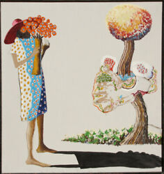 Benny Andrews Girl with Flowers Oil and Collage Painting