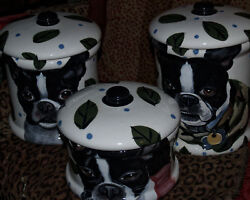 Custom 3 pcs Canister set  Boston terrier ANY breed !!