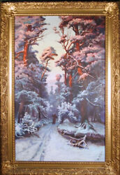 Mary Saltzman, Winter Forest Landscape, Oil Painting