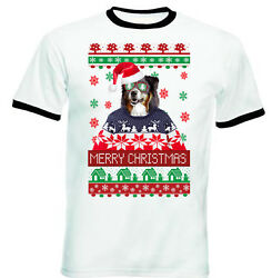 Black Collie merry Xmas RINGER COTTON TSHIRT