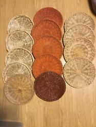 Vintage Wicker Rattan Paper Plate Holders Set Of 14 Red Brown And Tan